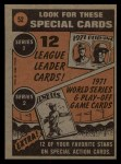 1972 Topps #52   -  Harmon Killebrew In Action Back Thumbnail