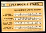 1963 Topps #169   -  Gaylord Perry / Tommie Sisk / Dick Egan / Julio Navarro Rookies Back Thumbnail