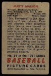 1951 Bowman #34  Marty Marion  Back Thumbnail