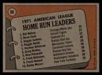 1972 Topps #90   -  Norm Cash / Reggie Jackson / Bill Melton AL HR Leaders   Back Thumbnail