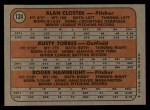 1972 Topps #124   -  Alan Closter / Roger Hambright / Rusty Torres Yankees Rookies   Back Thumbnail