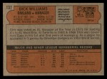 1972 Topps #137  Dick Williams  Back Thumbnail