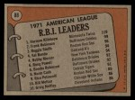 1972 Topps #88   -  Harmon Killebrew / Frank Robinson / Reggie Smith AL RBI Leaders   Back Thumbnail