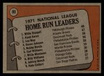 1972 Topps #89   -  Hank Aaron / Lee May / WIllie Stargell NL HR Leaders   Back Thumbnail