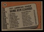 1972 Topps #90   -  Reggie Jackson / Norm Cash / Bill Melton AL HR Leaders   Back Thumbnail