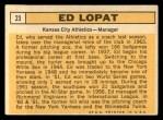 1963 Topps #23  Eddie Lopat  Back Thumbnail
