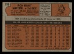 1972 Topps #110  Ron Hunt  Back Thumbnail