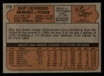1972 Topps #118  Skip Lockwood  Back Thumbnail