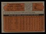 1972 Topps #119  Marty Perez  Back Thumbnail