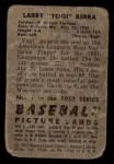 1952 Bowman #1  Yogi Berra  Back Thumbnail