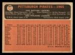 1966 Topps #404 ^DOT^  Pirates Team Back Thumbnail