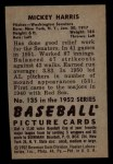 1952 Bowman #135  Mickey Harris  Back Thumbnail