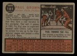 1962 Topps #181 A Paul Brown  Back Thumbnail