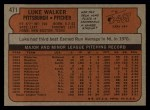 1972 Topps #471  Luke Walker  Back Thumbnail