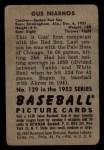1952 Bowman #129  Gus Niarhos  Back Thumbnail