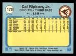 1982 Fleer #176  Cal Ripken  Back Thumbnail
