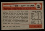 1954 Bowman #110  Red Schoendienst  Back Thumbnail