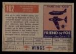 1952 Topps Wings #102   AE-33 Pulqui Back Thumbnail