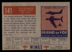 1952 Topps Wings #141   TO-2 Lockheed Back Thumbnail