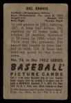 1952 Bowman #76  Del Ennis  Back Thumbnail