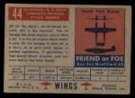 1952 Topps Wings #44   AJ Savage Back Thumbnail