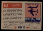 1952 Topps Wings #141   TO-2 Lockheed Back Thumbnail