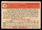 1952 Topps #148  Johnny Klippstein  Back Thumbnail