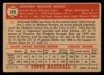 1952 Topps #172 CRM Eddie Miksis  Back Thumbnail