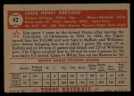 1952 Topps #42 RED Lou Kretlow  Back Thumbnail