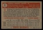 1952 Topps #71 RED Tom Upton  Back Thumbnail