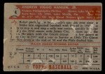 1952 Topps #74 RED Andy Hansen  Back Thumbnail