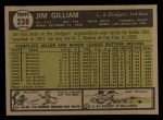 1961 Topps #238  Jim Gilliam  Back Thumbnail