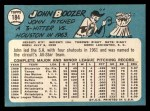 1965 Topps #184 COR John Boozer   Back Thumbnail