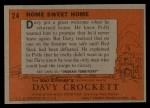 1956 Topps Davy Crockett #24 ORG  Home Sweet Home  Back Thumbnail