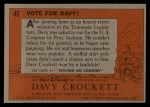 1956 Topps Davy Crockett #41 ORG  Vote For Davy!  Back Thumbnail