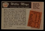 1955 Bowman #184  Willie Mays  Back Thumbnail