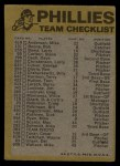 1974 Topps Red Checklist   Phillies Back Thumbnail