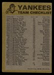 1974 Topps Red Team Checklists #17   Yankees Team Checklist Back Thumbnail