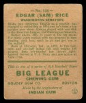 1933 Goudey #134  Sam Rice  Back Thumbnail