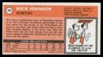 1970 Topps #102  Rich Johnson   Back Thumbnail