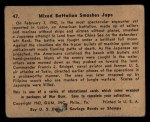 1941 Gum Inc. War Gum #47   Mixed Battalion Smashes Japanese Back Thumbnail