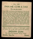 1933 Goudey Indian Gum #168  Pah-Me-Cow-E-Tah   Back Thumbnail