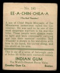 1933 Goudey Indian Gum #185  Ee-A-Chin-Chea-A   Back Thumbnail