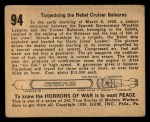 1938 Gum Inc. Horrors of War #94   Torpedoing the Rebel Cruiser Baleares Back Thumbnail