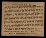 1941 Gum Inc. War Gum #44   Midway Island Defies The Japanese Back Thumbnail
