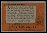 1956 Topps Davy Crockett #8 ORG  Preparing for War  Back Thumbnail