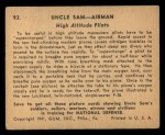 1941 Gum Inc. Uncle Sam Home Defense #93   High Altitude Pilots Back Thumbnail