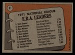 1972 Topps #91   -  Dave Roberts / Tom Seaver / Don Wilson NL ERA Leaders   Back Thumbnail