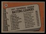 1972 Topps #85   -  Glenn Beckert / Ralph Garr / Joe Torre NL Batting Leaders   Back Thumbnail