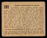 1938 Gum Inc. Horrors of War #101   Japanese General Killed in Ambush Back Thumbnail
